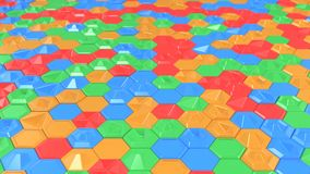 Abstract 3d background made of colorful hexagons. Wall of hexagons. Honeycomb pattern. 3D render illustration Stock Image
