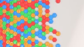Abstract 3d background made of colorful hexagons. On white background. Wall of hexagons. Honeycomb pattern. 3D render illustration Royalty Free Stock Photos