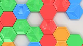 Abstract 3d background made of colorful hexagons. On white background. Wall of hexagons. Honeycomb pattern. 3D render illustration Stock Image