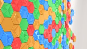 Abstract 3d background made of colorful hexagons. On white background. Wall of hexagons. Honeycomb pattern. 3D render illustration Royalty Free Stock Photography