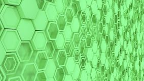 Abstract 3d background made of green hexagons. Wall of hexagons. Honeycomb pattern. 3D render illustration Royalty Free Stock Photography