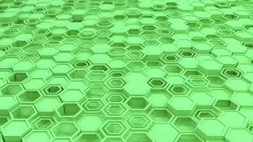 Abstract 3d background made of green hexagons. Wall of hexagons. Honeycomb pattern. 3D render illustration Royalty Free Stock Photos
