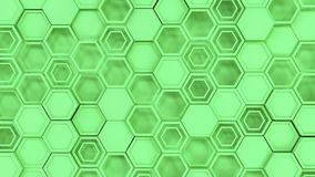 Abstract 3d background made of green hexagons. Wall of hexagons. Honeycomb pattern. 3D render illustration Stock Photos