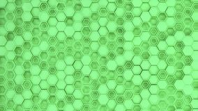 Abstract 3d background made of green hexagons. Wall of hexagons. Honeycomb pattern. 3D render illustration Royalty Free Stock Photo