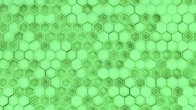 Abstract 3d background made of green hexagons. Wall of hexagons. Honeycomb pattern. 3D render illustration Stock Images