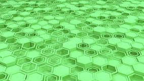 Abstract 3d background made of green hexagons. Wall of hexagons. Honeycomb pattern. 3D render illustration Stock Photo