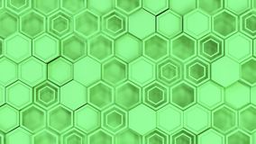 Abstract 3d background made of green hexagons. Wall of hexagons. Honeycomb pattern. 3D render illustration Royalty Free Stock Image