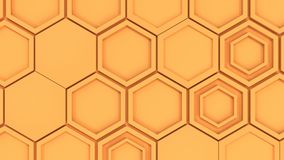 Abstract 3d background made of orange hexagons. Wall of hexagons. Honeycomb pattern. 3D render illustration Stock Photography