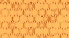 Abstract 3d background made of orange hexagons. Wall of hexagons. Honeycomb pattern. 3D render illustration Royalty Free Stock Photos