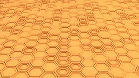 Abstract 3d background made of orange hexagons. Wall of hexagons. Honeycomb pattern. 3D render illustration Stock Photo