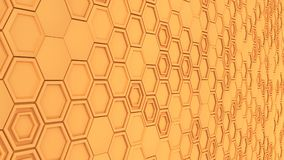 Abstract 3d background made of orange hexagons. Wall of hexagons. Honeycomb pattern. 3D render illustration Royalty Free Stock Photo