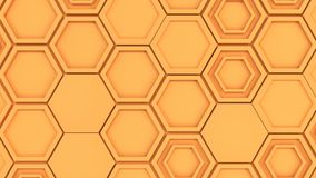 Abstract 3d background made of orange hexagons. Wall of hexagons. Honeycomb pattern. 3D render illustration Royalty Free Stock Images
