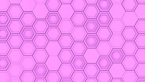 Abstract 3d background made of purple hexagons. Wall of hexagons. Honeycomb pattern. 3D render illustration Stock Photo