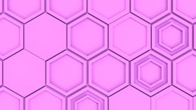 Abstract 3d background made of purple hexagons. Wall of hexagons. Honeycomb pattern. 3D render illustration Stock Images