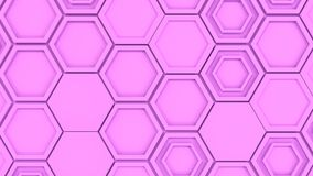 Abstract 3d background made of purple hexagons. Wall of hexagons. Honeycomb pattern. 3D render illustration Royalty Free Stock Image