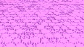 Abstract 3d background made of purple hexagons. Wall of hexagons. Honeycomb pattern. 3D render illustration Stock Image