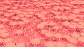 Abstract 3d background made of red hexagons. Wall of hexagons. Honeycomb pattern. 3D render illustration Royalty Free Stock Photos