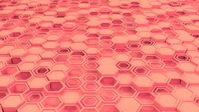 Abstract 3d background made of red hexagons. Wall of hexagons. Honeycomb pattern. 3D render illustration Royalty Free Stock Image