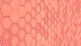 Abstract 3d background made of red hexagons. Wall of hexagons. Honeycomb pattern. 3D render illustration Royalty Free Stock Images