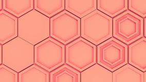 Abstract 3d background made of red hexagons. Wall of hexagons. Honeycomb pattern. 3D render illustration Stock Image