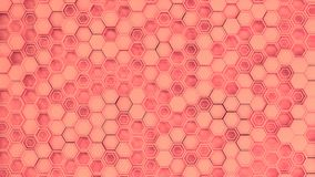 Abstract 3d background made of red hexagons. Wall of hexagons. Honeycomb pattern. 3D render illustration Stock Photography