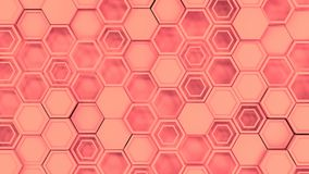Abstract 3d background made of red hexagons. Wall of hexagons. Honeycomb pattern. 3D render illustration Royalty Free Stock Photography