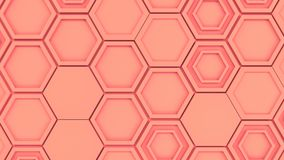 Abstract 3d background made of red hexagons. Wall of hexagons. Honeycomb pattern. 3D render illustration Stock Photo