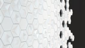 Abstract 3d background made of white hexagons. On black background. Wall of hexagons. Honeycomb pattern. 3D render illustration Royalty Free Stock Photo