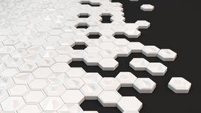 Abstract 3d background made of white hexagons. On black background. Wall of hexagons. Honeycomb pattern. 3D render illustration Royalty Free Stock Photography