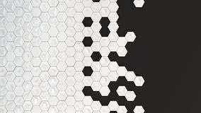 Abstract 3d background made of white hexagons. On black background. Wall of hexagons. Honeycomb pattern. 3D render illustration Stock Photos