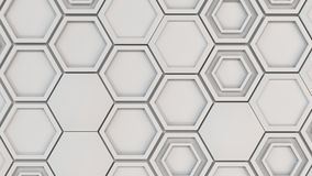 Abstract 3d background made of white hexagons. Wall of hexagons. Honeycomb pattern. 3D render illustration Stock Photo