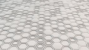 Abstract 3d background made of white hexagons. Wall of hexagons. Honeycomb pattern. 3D render illustration Royalty Free Stock Photos