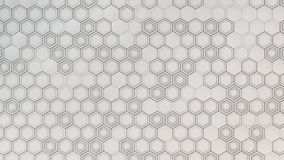 Abstract 3d background made of white hexagons. Wall of hexagons. Honeycomb pattern. 3D render illustration Stock Image