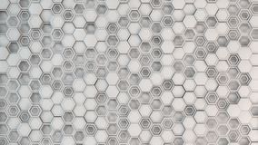 Abstract 3d background made of white hexagons. Wall of hexagons. Honeycomb pattern. 3D render illustration Royalty Free Stock Photography