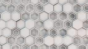 Abstract 3d background made of white hexagons. Wall of hexagons. Honeycomb pattern. 3D render illustration Royalty Free Stock Image