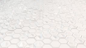 Abstract 3d background made of white hexagons. Wall of hexagons. Honeycomb pattern. 3D render illustration Royalty Free Stock Images