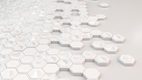 Abstract 3d background made of white hexagons. On white background. Wall of hexagons. Honeycomb pattern. 3D render illustration Royalty Free Stock Image