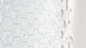 Abstract 3d background made of white hexagons. On white background. Wall of hexagons. Honeycomb pattern. 3D render illustration Stock Photos