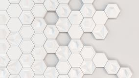 Abstract 3d background made of white hexagons. On white background. Wall of hexagons. Honeycomb pattern. 3D render illustration Royalty Free Stock Images