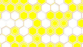 Abstract 3d background made of white hexagons on blue glowing background. Wall of hexagons. Honeycomb pattern. 3D render illustration Royalty Free Stock Photos
