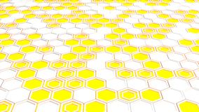 Abstract 3d background made of white hexagons on blue glowing background. Wall of hexagons. Honeycomb pattern. 3D render illustration Royalty Free Stock Images
