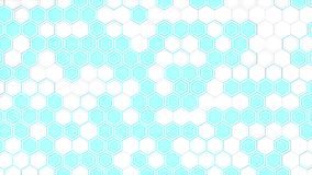 Abstract 3d background made of white hexagons on blue glowing background. Wall of hexagons. Honeycomb pattern. 3D render illustration Royalty Free Stock Photo