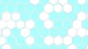 Abstract 3d background made of white hexagons on blue glowing background. Wall of hexagons. Honeycomb pattern. 3D render illustration Stock Photo
