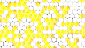 Abstract 3d background made of white hexagons on blue glowing background. Wall of hexagons. Honeycomb pattern. 3D render illustration Stock Photography