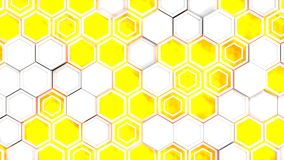 Abstract 3d background made of white hexagons on blue glowing background. Wall of hexagons. Honeycomb pattern. 3D render illustration Royalty Free Stock Photography