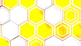 Abstract 3d background made of white hexagons on blue glowing background. Wall of hexagons. Honeycomb pattern. 3D render illustration Stock Images