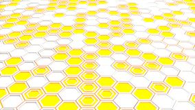 Abstract 3d background made of white hexagons on blue glowing background. Wall of hexagons. Honeycomb pattern. 3D render illustration Stock Image