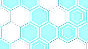 Abstract 3d background made of white hexagons on blue glowing background. Wall of hexagons. Honeycomb pattern. 3D render illustration Royalty Free Stock Image