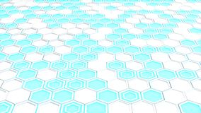 Abstract 3d background made of white hexagons on blue glowing background. Wall of hexagons. Honeycomb pattern. 3D render illustration Stock Photos
