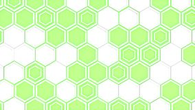 Abstract 3d background made of white hexagons on green glowing background. Wall of hexagons. Honeycomb pattern. 3D render illustration Royalty Free Stock Photos